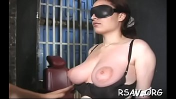 rubber bondage bag Stroking her tight anal hole