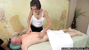 family hard rock Asian masseuse oils up and slides over client