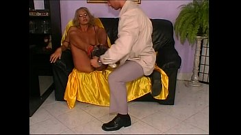 glasses mature blonde wearing a fisting Cumming on chair