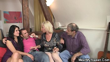 old couple and slave men bi French strip then facial