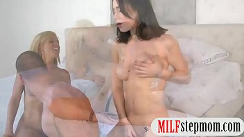 spy couch caught solo cam milf on alice Threesome with blondes in latex and stockings