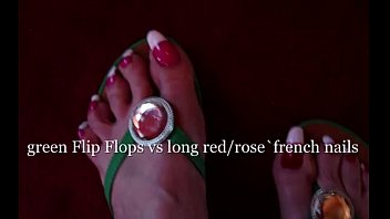 long domina toenails with very Lesbian bdsm play where two sexy girls